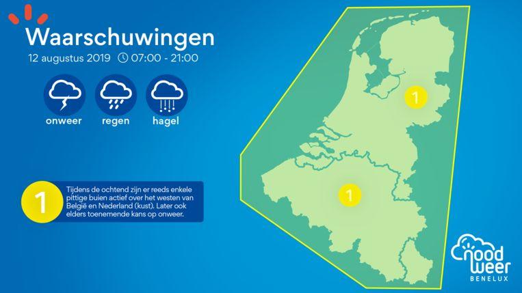 NoodweerBenelux waarschuwt voor onweer, regen en hagel.