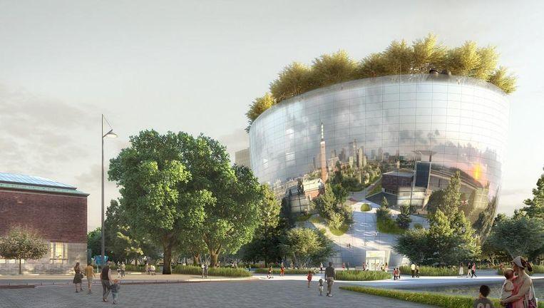 Artist's impression van het nieuwe Collectiegebouw. Beeld MVRDV