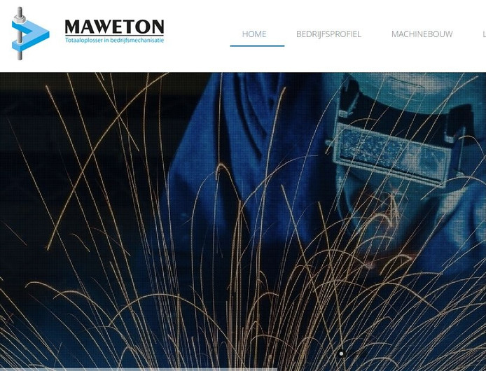 Screenshot van de website van Maweton