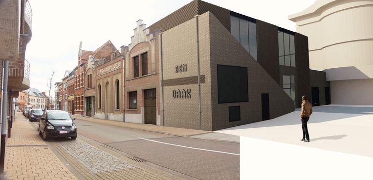 Een beeld van het toekomstige jeugdhuis Den Daak, dat naast Cinema Plaza ligt.