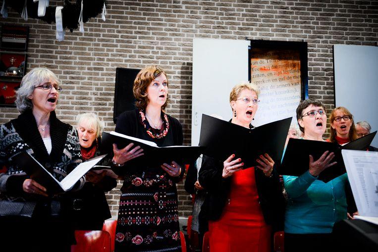 Top 2000-viering, eind december 2014, in de Oecumenische kerk De Lichtboog in Almere. Beeld Hollandse Hoogte / Bram Petraeus