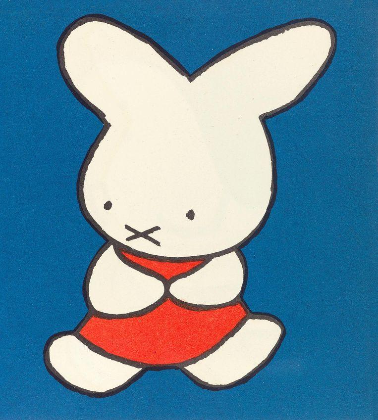 Een van de eerste tekeningen van Dick Bruna's Nijntje Beeld Dick Bruna
