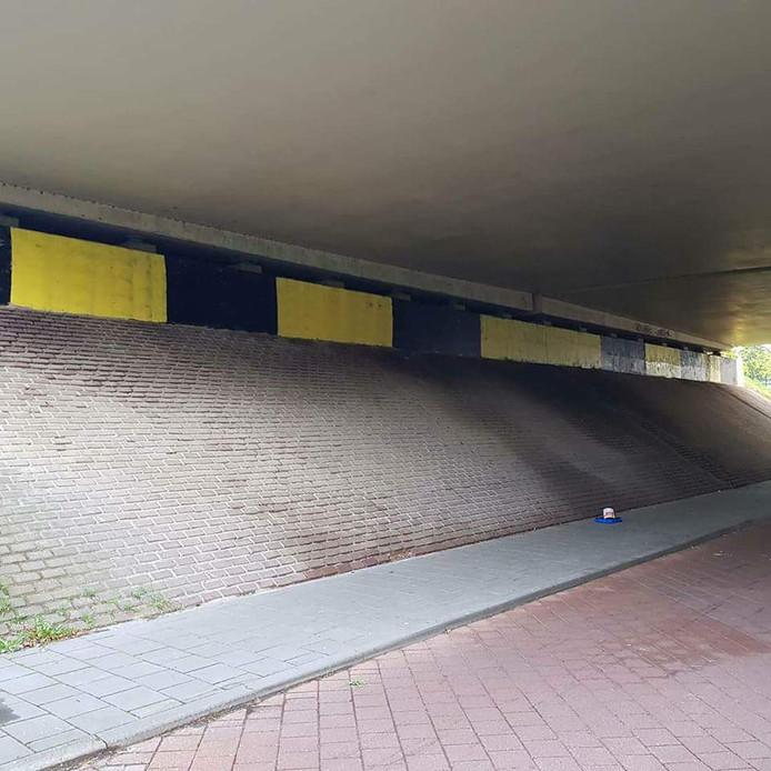 Het zwart-geel geverfde viaduct in Tilburg.