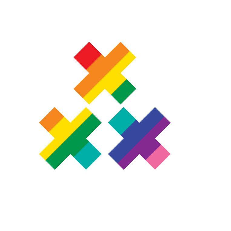 De Twitter-emoji, afgeleid van de oorspronkelijke regenboogvlag, het wapen van de hoofdstad en het logo van de Amsterdam Gay Pride Beeld Gay Pride Amsterdam