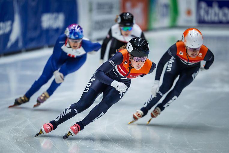 Op de 500 meter tijdens de wereldbekerfinale in Dordrecht, februari dit jaar. Beeld International Skating Union via