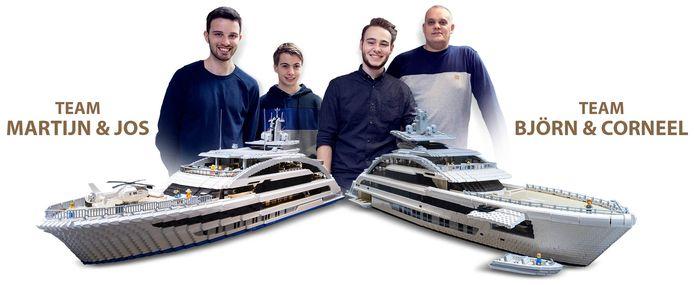 De twee teams met hun geheel in lego uitgevoerde Cosmos, het megajacht dat nu in aanbouw is bij Heesen Yachts in Oss.