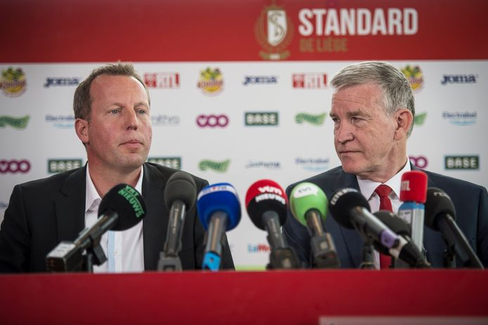 Bruno Venanzi et Roland Duchâtelet lors de l'officialisation de la vente du club il y a cinq ans jour pour jour