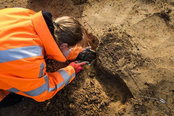 Archeologe Miriam Peters legt een urne bloot.