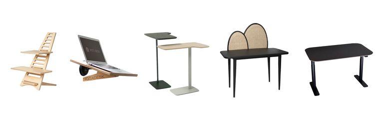 Vanaf links: Upstaa, Notadesk, Utensils, Rotan Webbing, Pod Desk Beeld