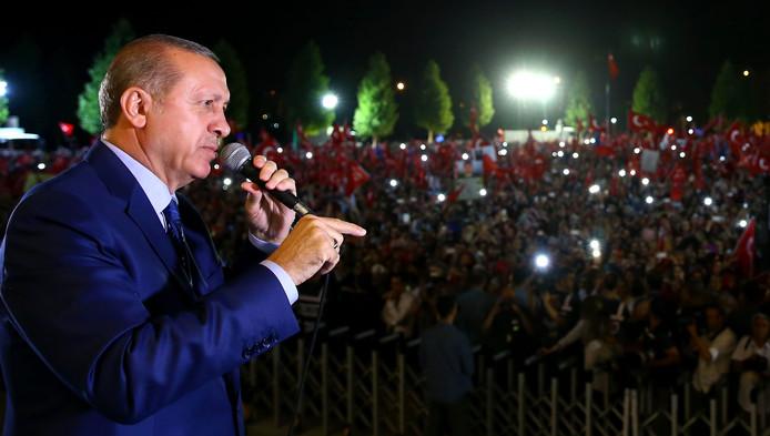 Recep Tayyip Erdogan vorige week tijdens een toespraak in Ankara.