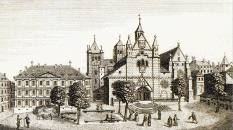 Een tijdgenoot van Calvijn maakte deze voorstelling van de St. Pierre, waar Calvijn meer dan 25 jaar preekte. (TENTOONSTELLINGSBOEK 'CALVIJN EN DE NEDERLANDEN') Beeld