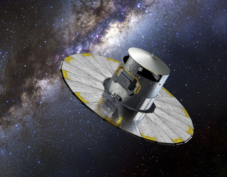 De Europese satelliet Gaia in actie, volgens een artist impression van ruimtevaartorganisatie ESA. De ruimtetelescoop levert de gegevens voor een ongekend nauwkeurige atlas van het heelal.  Beeld EPA