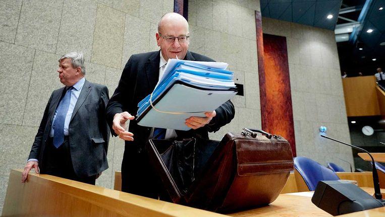 Minister Opstelten en staatssecretaris Teeven van Justitie in de Tweede Kamer. Beeld anp