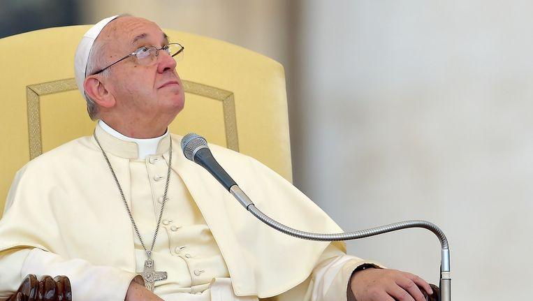 Paus Franciscus, afgelopen woensdag tijdens zijn wekelijkse audiëntie in Rome. Beeld afp