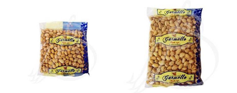 Garmello pistachenoten: een zak van 400 gram en een zak van 600 gram.