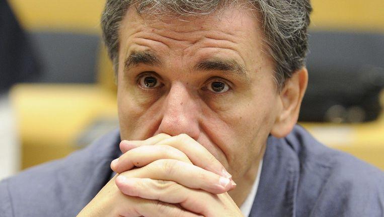 De Griekse minister van Financien Euclid Tsakalotos bij de start van de speciale Eurogroep Beeld ANP