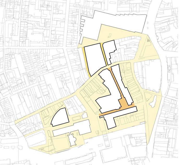 De verschillende locaties in het centrum van Tilburg waar de plannen gerealiseerd worden.