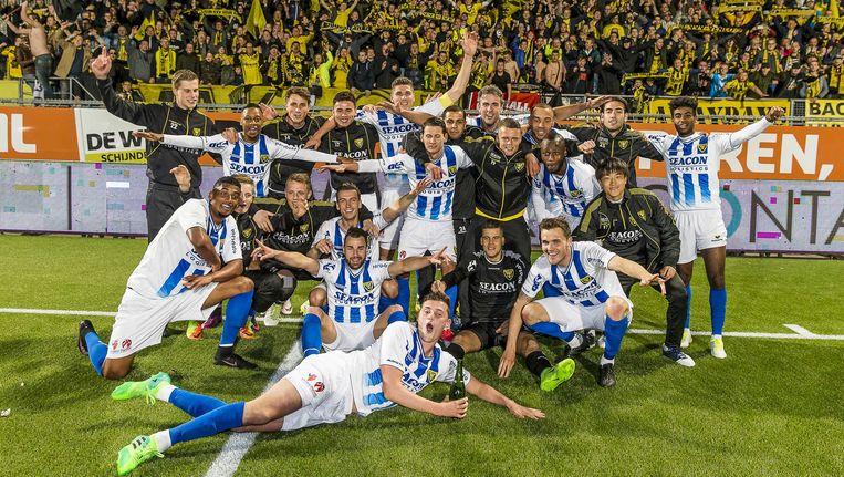 Vreugde bij de spelers van VVV na winst op RKC Waalwijk. Beeld anp