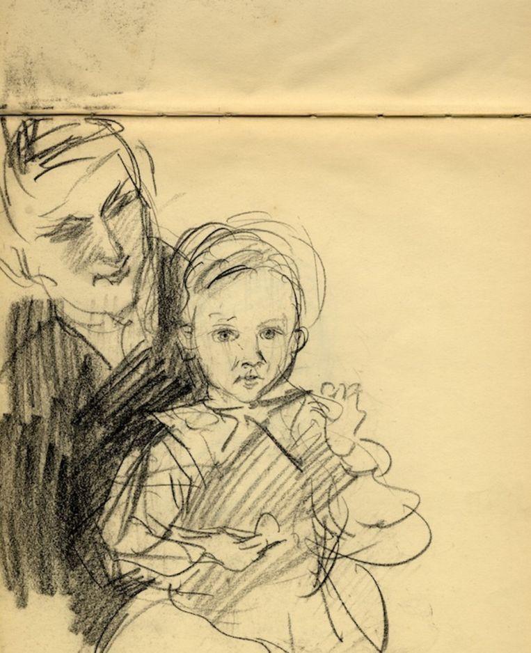 Schets van Anna Glerum-Rinckum en dochter door Isaac Israëls in 1918 Beeld Stadsarchief