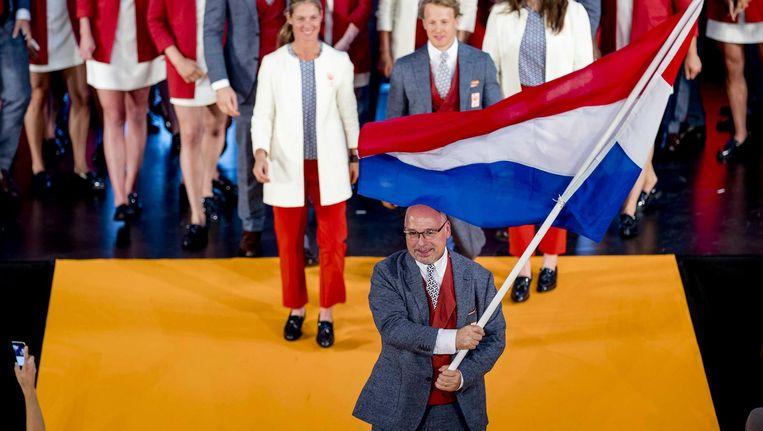Maurits Hendriks tijdens de openingsceremonie in Rio de Janeiro. Beeld epa