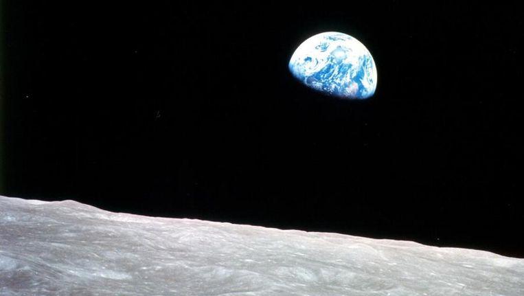 De aarde, vanaf de maan gezien net een soort exoplaneet. Beeld NASA