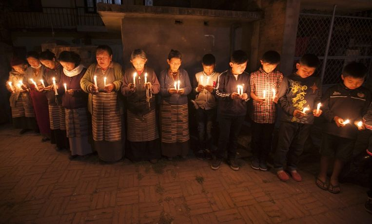 Tibetanen in Kathmandu protesteren in stilte tegen de zelfverbrandingen Beeld EPA