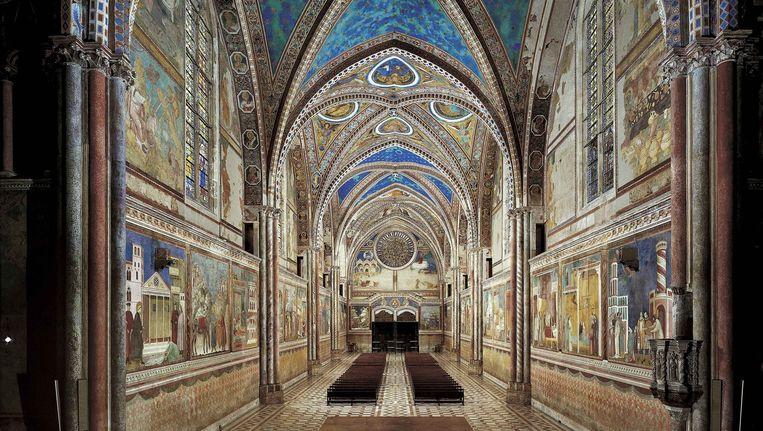 Kerkinterieur met beeldverhaal over het leven van Franciscus, Giotto di Bondone en werkplaats, ca. 1290 in Assisi. Beeld null
