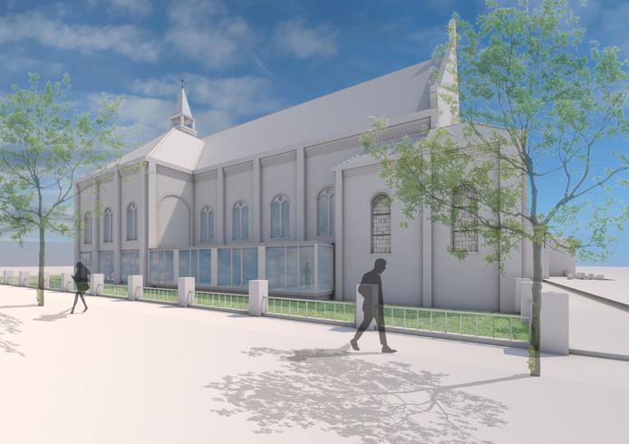 Aan weerszijden van het kerkschip komt een transparante uitbouw.