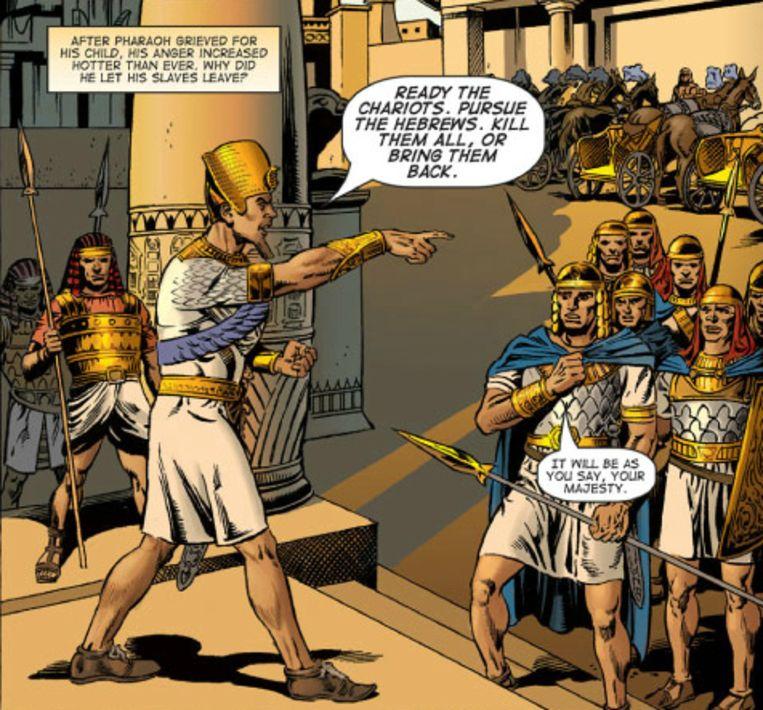 Fragment uit een eerdere Kingstone-strip. De Egyptische farao geeft zijn troepen de opdracht om de voortvluchtige Mozes op te pakken. Beeld Kingstone Comics