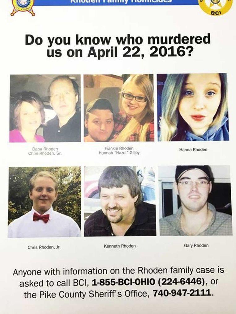 De acht dodelijke slachtoffers:  leden van de familie Rhoden.