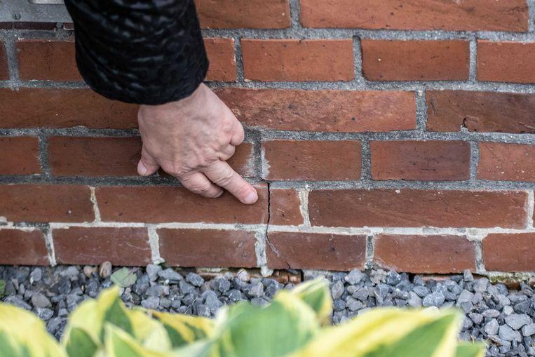 Een bewoonster van Westerwijtwerd wijst schade aan die is ontstaan door een aardbeving met een kracht van 3.4. Het is de op twee na zwaarste beving in de provincie Groningen als gevolg van de gaswinning.