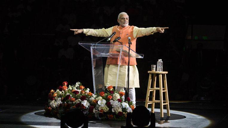 President Modi op het podium in New York. Beeld reuters