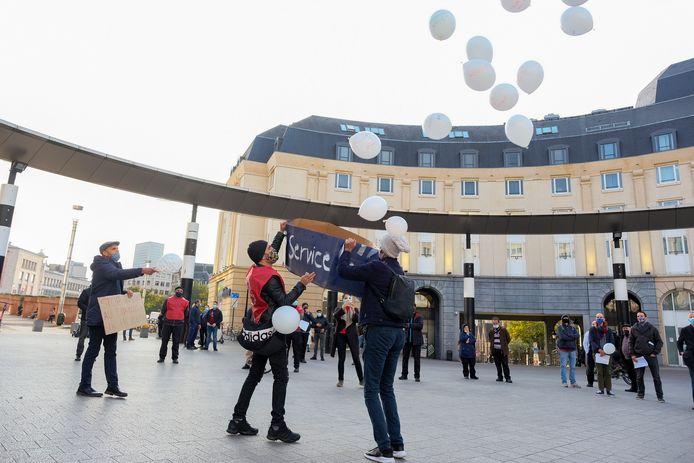 De stadswachters protesteerden eerder al aan het Centraal Station. (archiefbeeld)