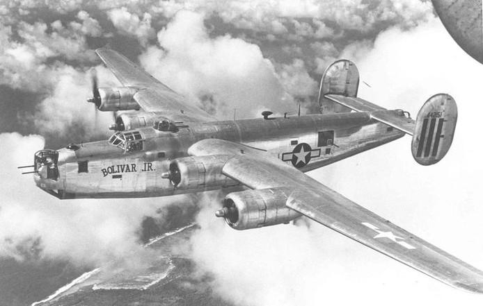 De B-24 bommenwerper van de Amerikaanse luchtmacht.