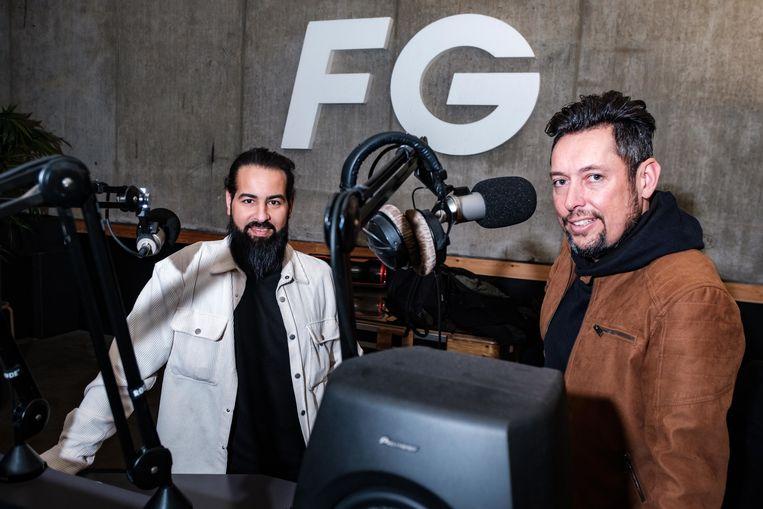 Khalid Naciri en Glenn Geyselings van radiozender FG Xtra 107FM Antwerpen.