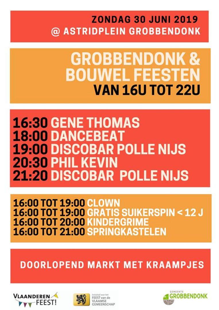 De affiche van 'Grobbendonk en Bouwel feesten!'