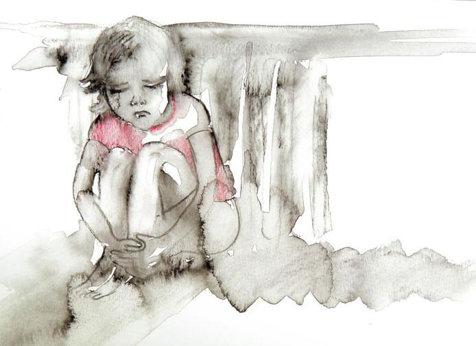 """Het schilderij Klein Meisje uit het boek """"Nooit meer kwijt"""" van Esther Veerman, die schokkende ervaringen van misbruik omzette in schilderijen en gedichten."""