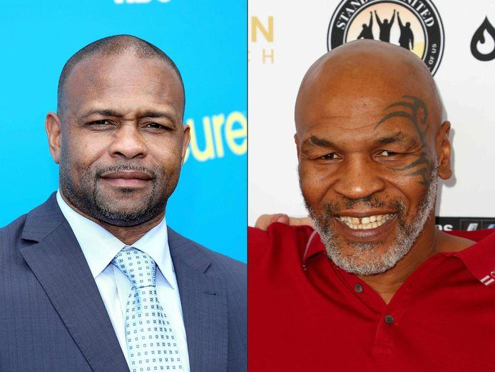 Roy Jones Jr (links) en Mike Tyson.