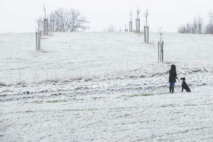 Gisteren lag er ook al een laagje sneeuw bij het Drielandenpunt in Vaals, Zuid-Limburg.