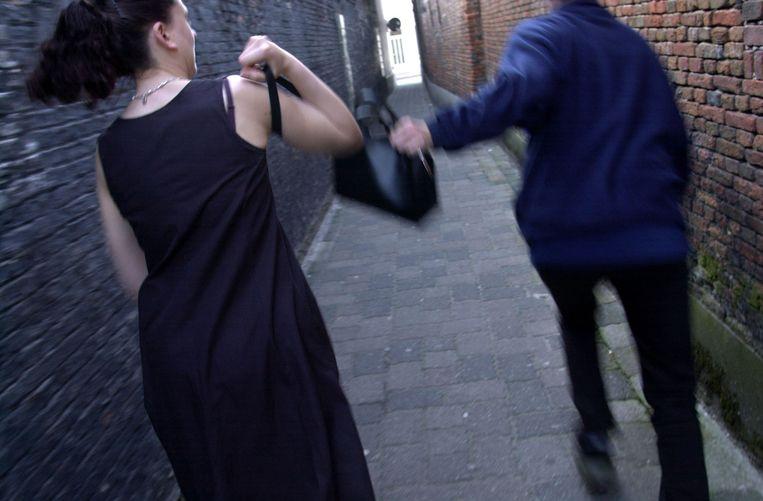 Een bejaarde dame werd van haar handtas beroofd.