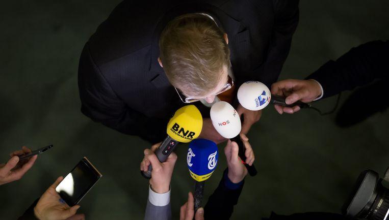Minister Ard van der Steur dinsdagavond na afloop van het debat over de aanslagen in Brussel. Beeld ANP