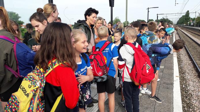De leerlingen van de Moolhoek kijken reikhalzend uit naar de trein die ze naar Breda gaat brengen.