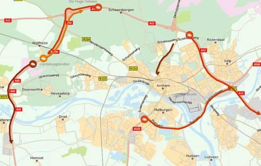 De drukte bij Arnhem rond 17.15 uur.