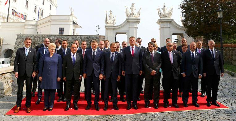 Europese leiders in Bratislava, op één van de voorbereidende EU-tops. Beeld reuters