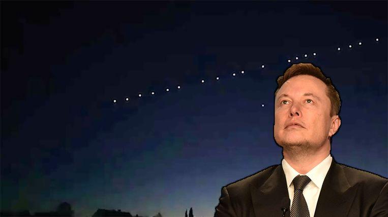Het satelliettreintje van Elon Musk.
