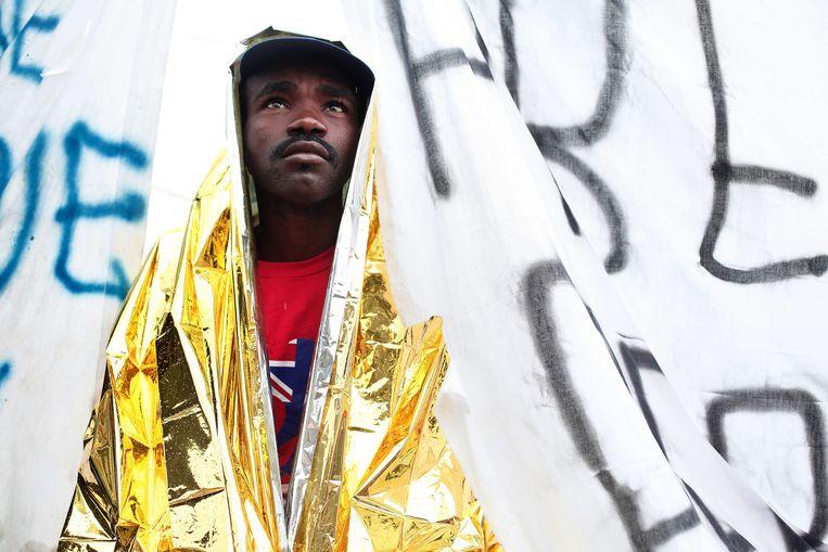 Een 25-jarige migrant uit Soedan aan de Frans-Italiaanse grens. Beeld ap