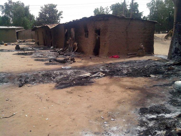 De staat Yobe ligt al langer onder vuur. Deze huizen werden in februari verwoest door Boko Haram. Beeld epa
