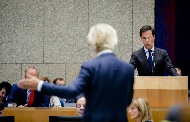 PVV-leider Wilders tegenover premier Rutte. Beeld anp