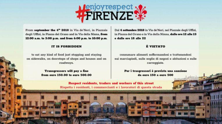 Winkeliers in Firenze hangen deze poster op om snackende toeristen tegen te gaan.