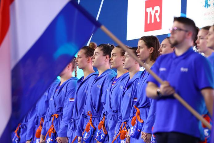 Nederland tijdens het volkslied voor het duel met Rusland.